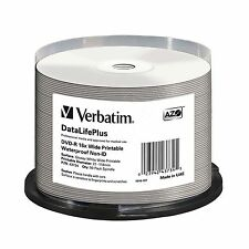 50 Verbatim DVD-R 4.7GB (16x) Wide Waterproof Printable No ID 43734 Spindle