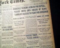 COMMONWEALTH CLUB ADDRESS Frankklin D. Roosevelt FDR Campaign 1932 NYC Newspaper