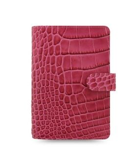 Filofax Classic Croc Personal Size Organizer Fuchsia Color Leather  026076