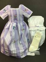 American Girl Felicity Travel Meet Gown/Dress PC Tag~Purple Ribbon Mob Cap~Socks