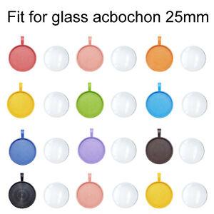 Assorted 25mm Round Bezel Base w/ Glass Cabochon Charms Pendant DIY Crafts 10pcs