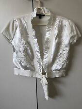 Pingpong Knit Crop Cardigan SiZe M 10 Off White Ivory Floral Embroidery