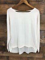 JCrew Women's White Long Sleeve Shirt with Green Stripe Back Size L