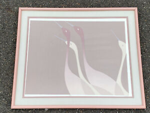 Mid Century Modern Pink Crane Lithograph Framed Signed & Numbered Marco