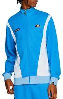 ellesse Mens Retro Vilas Track Jacket Zip Up Poly Sweat Top Light Bright Blue