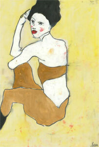 Ben Carrivick - Contemporary Oil, Black-Haired Figure in Mustard Yellow