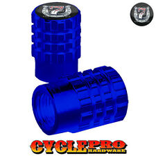 2 Blue Billet Knurled Tire Valve Cap Motorcycle - LUCKY 7 SHOE - 043