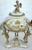 Deckelvase Porzellan Bronze Dose Jugendstil Vase Engel Antik Barock Urne Edel