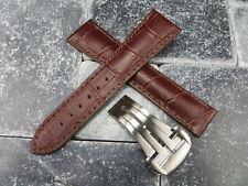 18mm Bracelet Cuir Marron Montre Bande Boucle Déployante Néc Omega Pinceau