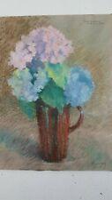 """""""Les hortensias 1935"""" Peinture pot de fleur signée. """"Hydrangeas 1935"""" Painted"""