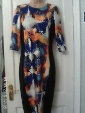 BLACK AND BLUE DRESS BY RIVER ISLAND, SIZE 14