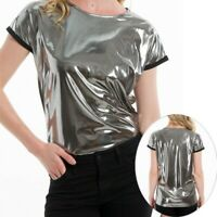 Womens Wet Look T-shirts Shiny Short Sleeves Tee Tops Blouse Party Nightclub New