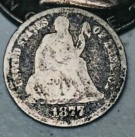 1877 Seated Liberty Dime 10c Ungraded Details Good Date US Silver Coin CC3677
