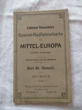 Special Radfahrerkarte Mitteleuropa Blatt 88 Chemnitz Liebenow Ravenstein u 1910