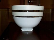 Glass Lamp Shade Hanging Ceiling Lighted Globe Clear, White & Cream Gold Lines