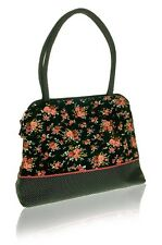Black Flower Printed Cotton Tote Bag, Polka Dot Trim - Fair Trade BNWT