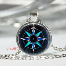 Vintage Hna compass Cabochon Tibetan silver Glass Chain Pendant Necklace gift