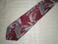"BURMA BIBAS Red Gray White Abstract ALL SILK Tie 59.5"" x 4"""