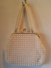 Vintage White Plastic Beaded Purse With Beaded Handle Gold Tone Snap Hong Kong