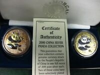 2 x 10 Yuan 2000 Silver Coin gold plated only 500 Sets are made by Franklin Mint
