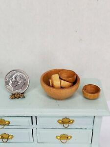 Vintage Handmade Turned Wood SALAD Bowl Set Dollhouse Miniature 1:12 Mixing Lot