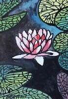 ACEO original miniature painting Ink pen & Watercolor - Sacred waterlily