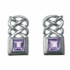 Pendientes de joyería de plata de ley amatista