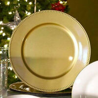 "Sets of 24,12,6 Gold Plastic Large Charger Wedding Plates Beaded Rims 13"" NEW"