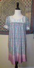 Betsey Johnson Floral Rosebud Babydoll Dress Tunic Multicolor S Retro PinUp