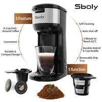 Sboly Coffee Maker K-Cup Brewer Timer Pod&Ground Self-Cleaning 2 In 1 Stainless