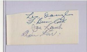 """DAVE KERR & FRED """"BUN"""" COOK QUAD SIGNED 1940's AUTOGRAPH CUT NY RANGERS JOE LAMB"""