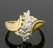 14Carat Yellow Gold Diamond Cluster 0.25ct Ring (Size N) Widest Approx. 14mm