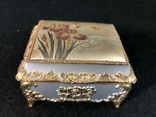 Vintage Japan Metal Embossed Music Box Flowers Iris Butterflies Jewelry Trinket