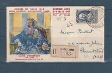 nveloppe  1er jour    journée du timbre  Vieux Charmont  Doubs   1953
