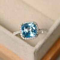 2.00Ct Cushion Cut Aquamarine Halo Engagement Wedding Ring 14K White Gold Finish