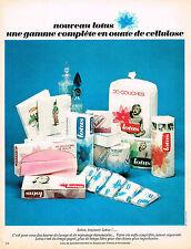 PUBLICITE ADVERTISING 084  1966  LOTUS  gamme complète en ouate de cellulose