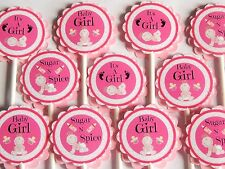 30 BABY GIRL Cupcake Toppers Birthday Party Favors, Baby Shower decoration  30