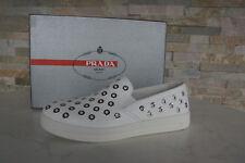 PRADA Gr 36,5 Slipper Sneakers Slip On Schuhe Kalb 3S6159 weiß NEU UVP 530 €