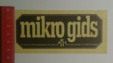 Aufkleber/Sticker: mikro gids TV Radio Programmablad van de (181016138)