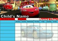 Personalised. Disney Cars Reward Chart/Potty Training/Behaviour. Re-Useable