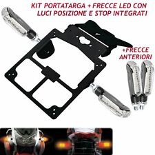 PLATE HOLDER WITH 4 LED INDICATORS CARBON LOOK WHITE RED AND AMBER LIGHT BIKE