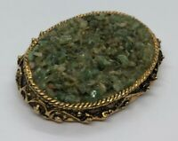 Vintage Fashion Costume Brooch Pin Crushed Jade Gold Tone