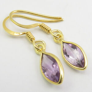 925 Pure Silver Yellow Gold Plated AMETHYST Earrings Women Gemstone Jewelry