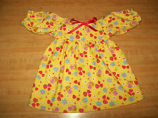 "Bee Strawberry Flower Yellow Flannel Nightgown for 16-18"" Cpk Cabbage Patch Kids"