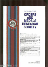 OMRS  vol 46  # 2  2007  Journal Orders & Medals Research Society  UK MEDAL MAGZ