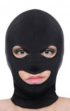 3 HOLE FACE MASK SPANDEX Mouth & Eye Opening HOOD balaclava black stretchy