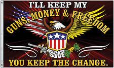 KEEP THE CHANGE FLAG - GUNS, MONEY, & FREEDOM - UNITED STATES DON'T TREAD ON ME