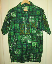 "Vintage 60's KALYAN & CO men's green aloha ""Hawaiian"" shirt, Med, Fiji, EXC,tiki"