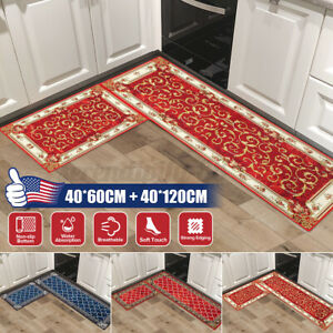 2PCS Non-Slip Kitchen Mat Rubber Backing Doormat Runner Floor Nonslip Carpet Rug
