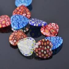 10pcs Mixed 25mm Large Heart Millefiori Lampwork Glass Loose Beads DIY Jewelry